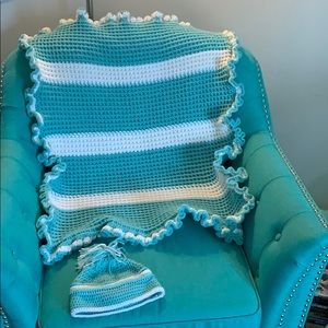 Hand Made Baby Blanket and Hat Brand New